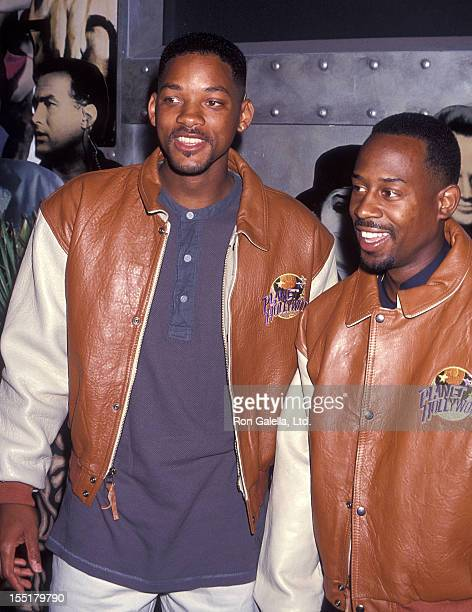 Actor Will Smith and comedian Martin Lawrence present memborabilias from their movie 'Bad Boys' to Planet Hollywood on August 28 1994 at Planet...