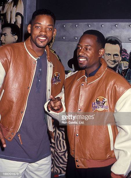 Actor Will Smith and comedian Martin Lawrence present memborabilias from their movie Bad Boys to Planet Hollywood on August 28 1994 at Planet...