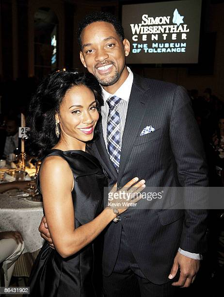 Actor Will Smith and his wife actress Jada Pinkett Smith pose at the Simon Wiesenthal Center's Annual National Tribute Dinner at the Beverly Wilshire...