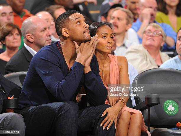 Actor Will Smith and his wife Jada Pinkett watch Game Five of the Eastern Conference Semifinals between the Philadelphia 76ers and Boston Celtics...
