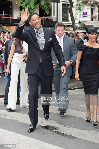 Actor Will Smith and Jada Pinkett Smith arrive for 'The Karate Kid' Paris Premiere - Photocall at Le Grand Rex on July 25, 2010 in Paris, France.