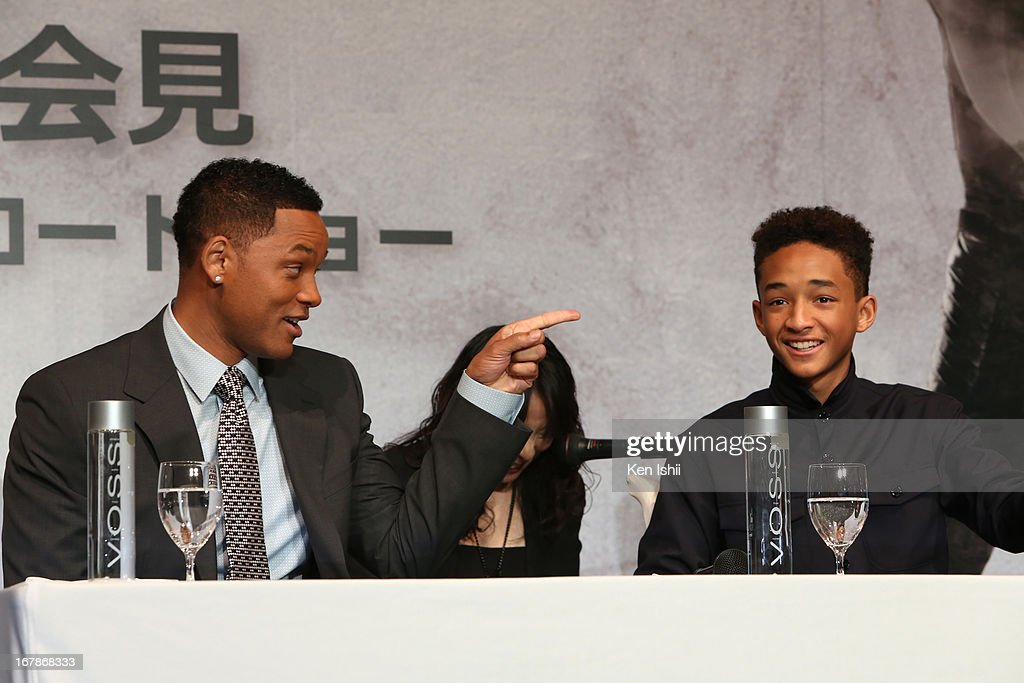Actor Will Smith and Jaden Smith attend the 'After Earth' Press Conference at the Ritz Carlton Tokyo on May 2, 2013 in Tokyo, Japan.
