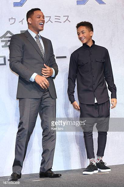 Actor Will Smith and Jaden Smith attend the 'After Earth' Press Conference at the Ritz Carlton Tokyo on May 2 2013 in Tokyo Japan
