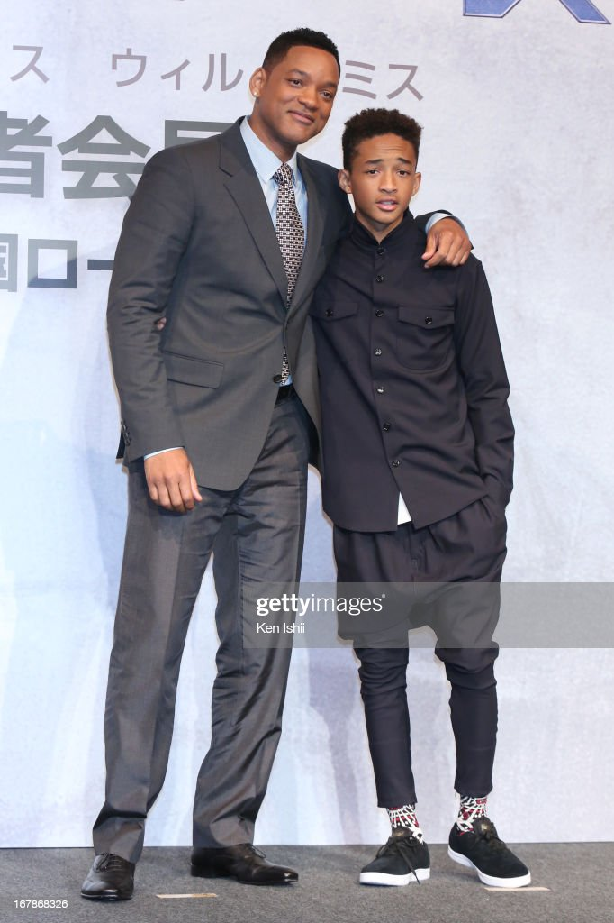 Actor Will Smith and Jaden Smith pose for photo during the 'After Earth' Press Conference at the Ritz Carlton Tokyo on May 2, 2013 in Tokyo, Japan.