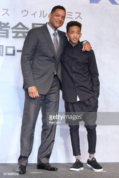 Actor Will Smith and Jaden Smith pose for photo during the 'After Earth' Press Conference at the Ritz Carlton Tokyo on May 2 2013 in Tokyo Japan
