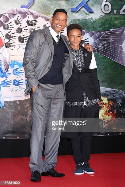 Actor Will Smith and Jaden Smith pose for photos during the 'After Earth' Japan Premiere at Tokyo Skytree on May 1 2013 in Tokyo Japan