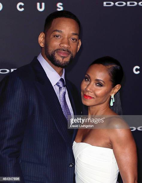 Actor Will Smith and wife actress Jada Pinkett Smith attend the premiere of Warner Bros Pictures' 'Focus' at the TCL Chinese Theater on February 24...