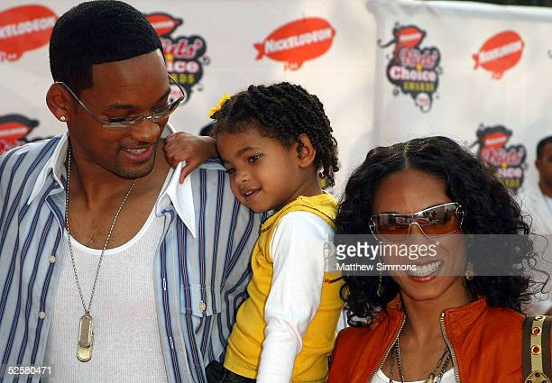 Actor Will Smith and wife Jada Pinkett Smith arrive with their family at the 18th Annual Kids Choice Awards at UCLA's Pauley Pavillion on April 2...
