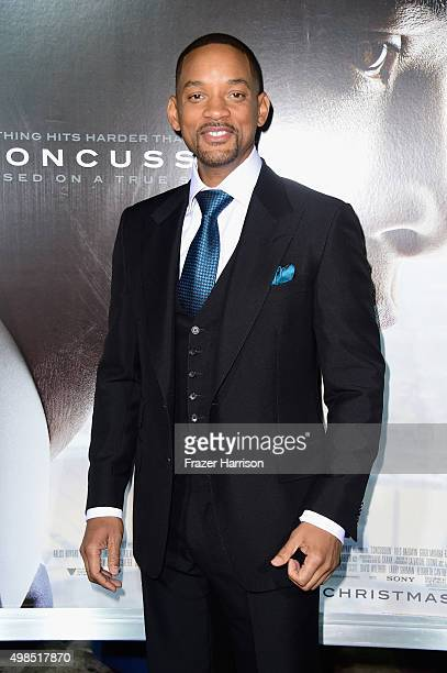 Actor Will Smith attends Columbia Pictures screening of Concussion at Regency Village Theatre on November 23 2015 in Westwood California