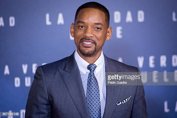 Actor Will Smith attends the Concussion premiere at Callao City Lights Cinema on January 27 2016 in Madrid Spain