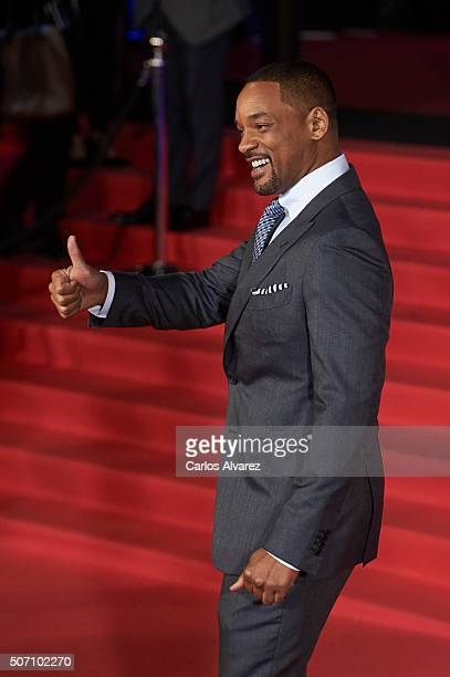 Actor Will Smith attends the Concussion premiere at the Callao cinema on January 27 2016 in Madrid Spain