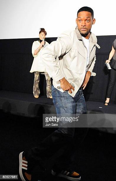 Actor Will Smith attends the 'Hancock' Stage Greeting at Shinjuku Piccadilly on August 23 2008 in Tokyo Japan The film will open on August 30 in Japan
