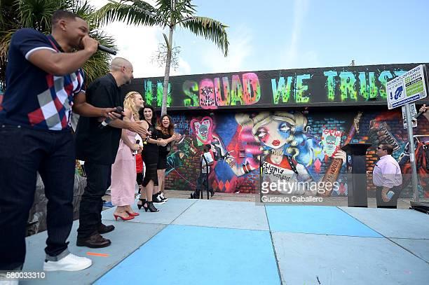 Actor Will Smith, director David Ayer, actress Margot Robbie, actress Karen Fukuhara, and artists Amanda Valdes, and Didirok onstage at the 'Suicide...