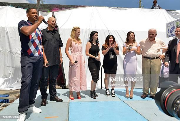 Actor Will Smith director David Ayer actress Margot Robbie artist Amanda Valdes artist Didirok actress Karen Fukuhara Mayor of Miami Tomas Regalado...