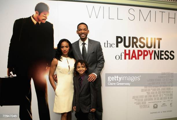 Actor Will Smith his son Jaden and wife Jada Pinkett Smith attend a charity lunch in aid of The Prince's Trust prior to the UK premiere this evening...