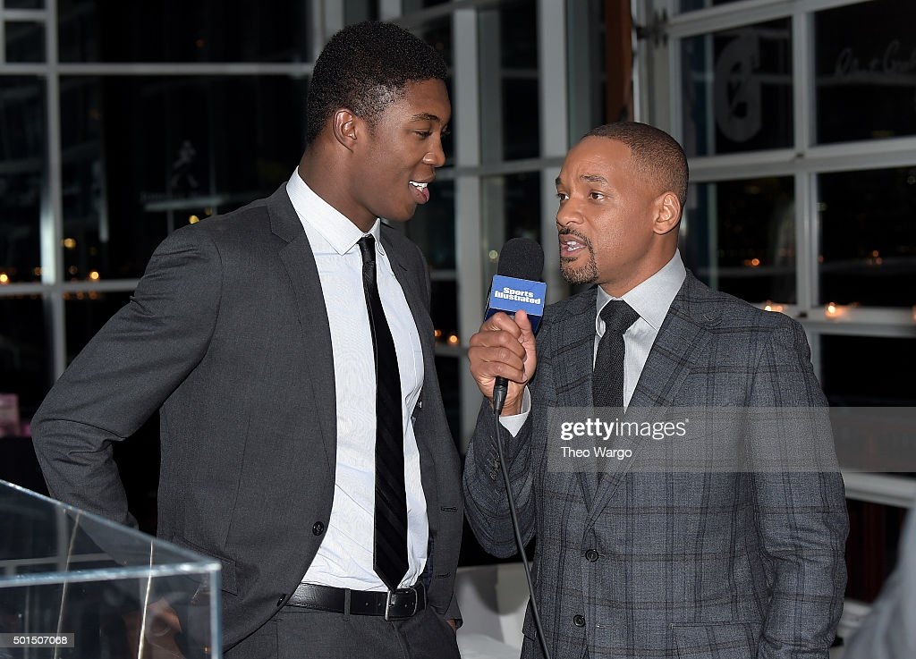 Actor Will Smith (R) interviews SI Kids 2015 SportsKid of the Year Reece Whitley at the Sports Illustrated Sportsperson of the Year Ceremony 2015 at Pier 60 on December 15, 2015 in New York City.