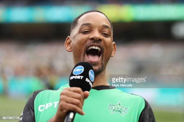 Actor Will Smith is interviewed on the field before the Big Bash League match between the Melbourne Stars and the Sydney Thunder at Melbourne Cricket...