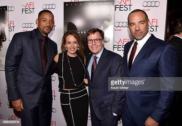 Actor Will Smith Jill Sutton Sportcaster Bob Costas and director/writer Peter Landesman attend the Centerpiece Gala Premiere of Columbia Pictures'...