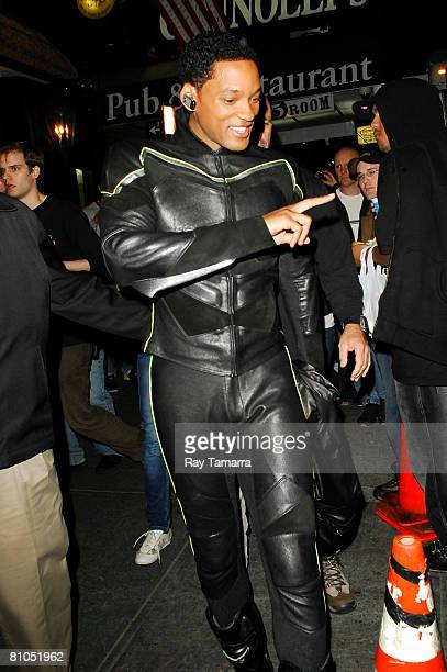 Actor Will Smith leaves his trailer to continue filming 'Hancock' in Times Square on May 11 2008 in New York City