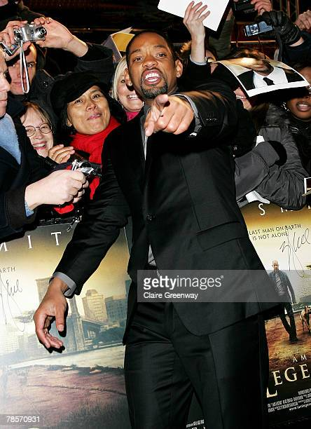 Actor Will Smith meets fans at the UK premiere of I Am Legend at the Odeon Leicester Square on December 19 2007 in London England
