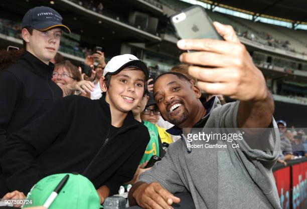 Actor Will Smith meets with fans prior to the Big Bash League match between the Melbourne Stars and the Sydney Thunder at Melbourne Cricket Ground on...