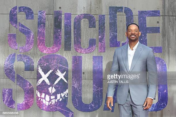 Actor Will Smith poses as he arrives to attend the European premiere of the film Suicide Squad in central London on August 3, 2016. / AFP / JUSTIN...
