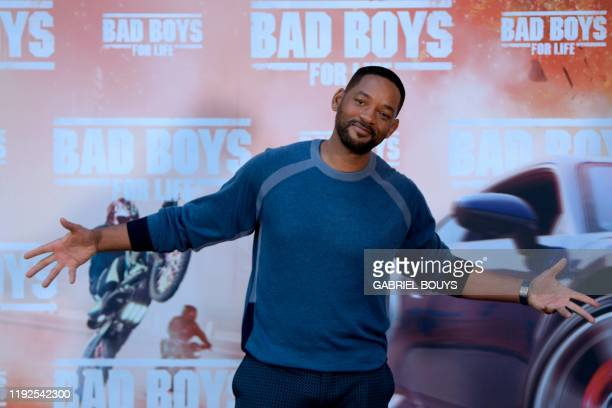 Actor Will Smith poses at the 'Bad Boys For Life' launching photocall in Madrid on January 8, 2020.