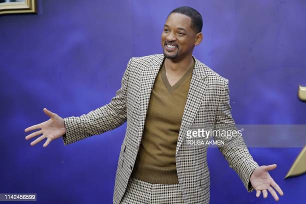 US actor Will Smith poses on arrival for the European Gala of Aladdin in central London on May 9 2019