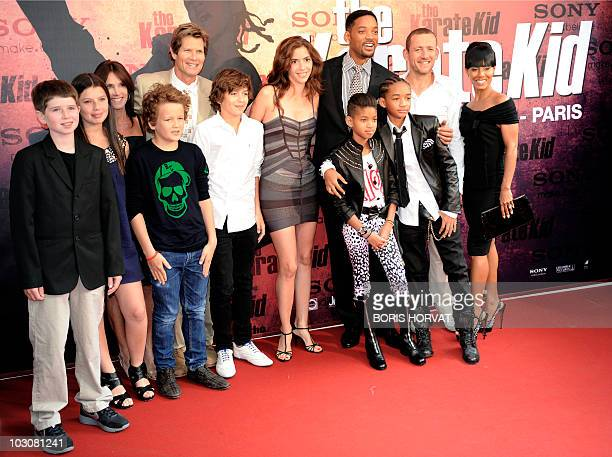 Actor Will Smith poses with his children Jaden and Willow Smith surrounded by his wife Jada Pinkett Smith , French actor Dany Boon , his wife Yaelle...