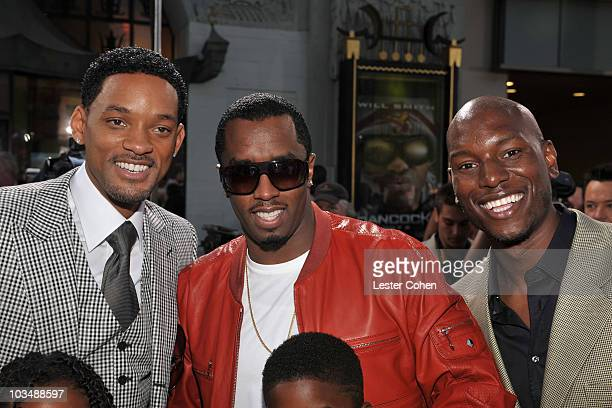 Actor Will Smith producer Sean Diddy Combs and actor Tyrese Gibson arrive at the World Premiere of Columbia Pictures Hancock at Grauman's Chinese...
