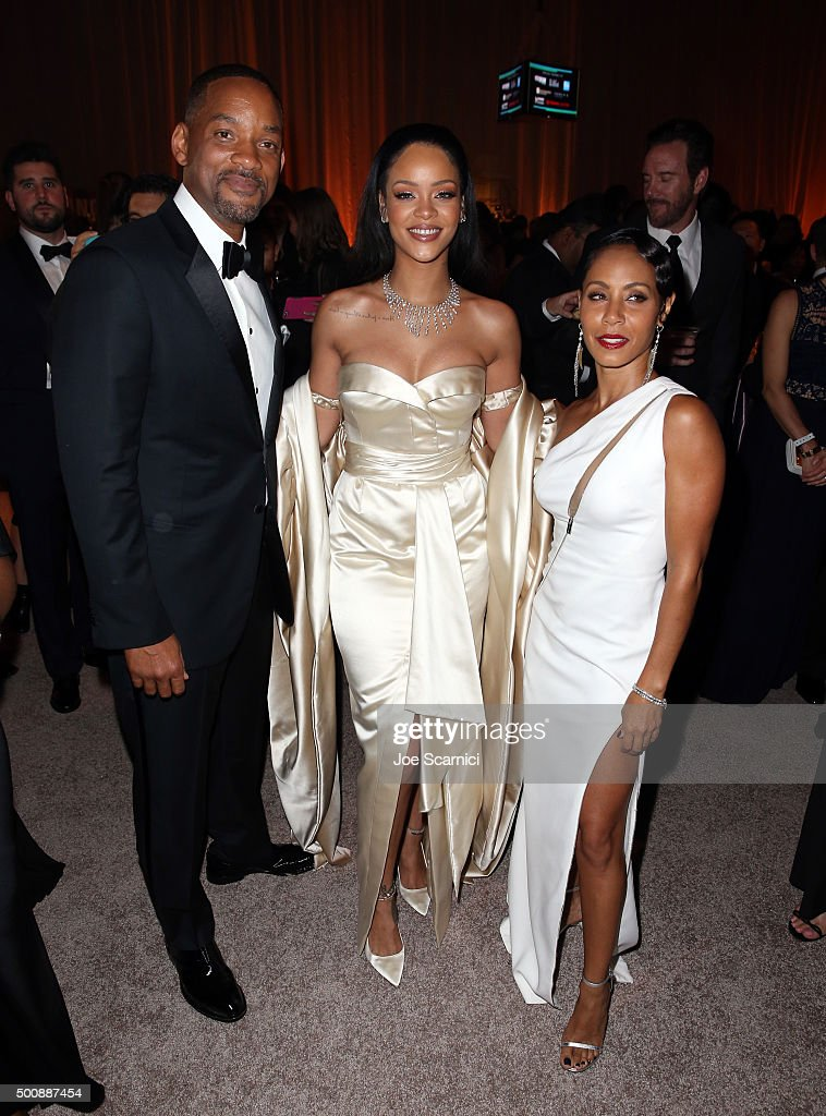 Actor Will Smith, recording artist Rihanna and actress Jada Pinkett Smith attend The Diamond Ball II with D'USSE and Armand de Brignac at The Barker Hanger on December 10, 2015 in Santa Monica, California.