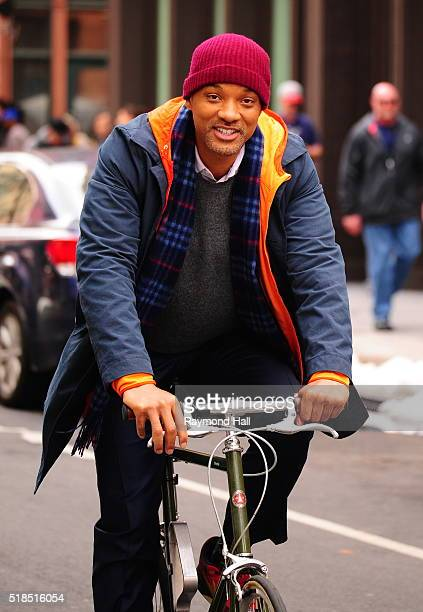 Actor Will Smith rides a bike on the set of 'Collateral Beauty' in East Village on March 31 2016 in New York City