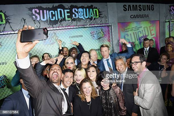 Actor Will Smith takes a selfie with the cast during 'Suicide Squad' world premiere at The Beacon Theatre on August 1 2016 in New York City