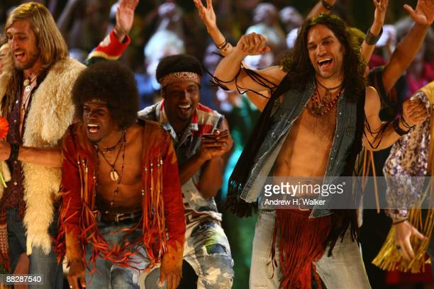 Actor Will Swenson performs with the casts of West Side Story Hair Shrek Rock of Ages Pal Joey 9 to 5 and Billy Elliot onstage during the 63rd Annual...