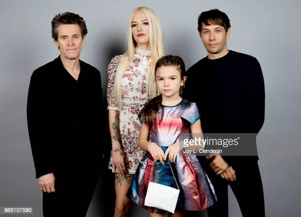 Actor Willem Dafoe actress Bria Binaite actress Brooklynn Prince and director Sean Baker from the film The Florida Project poses for a portrait at...