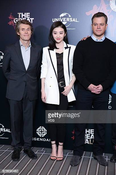 Actor Willem Dafoe actress Jing Tian and actor Matt Damon attend 'The Great Wall' press conference at Peninsula Hotel on December 8 2016 in Beijing...