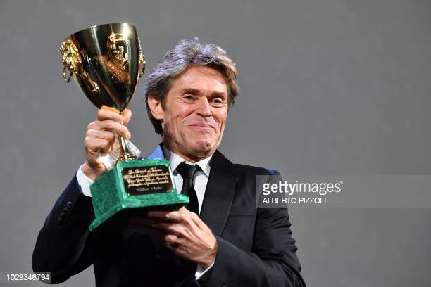 Actor Willem Dafoe receives the Coppa Volpi for Best Actor in the movie At Eternity's Gate during the awards ceremony of the 75th Venice Film...