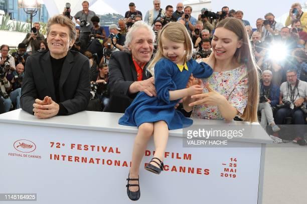 US actor Willem Dafoe US director Abel Ferrara and his daughter US actress Anna Ferrara and Moldovan actress Cristina Chiriac pose during a photocall...