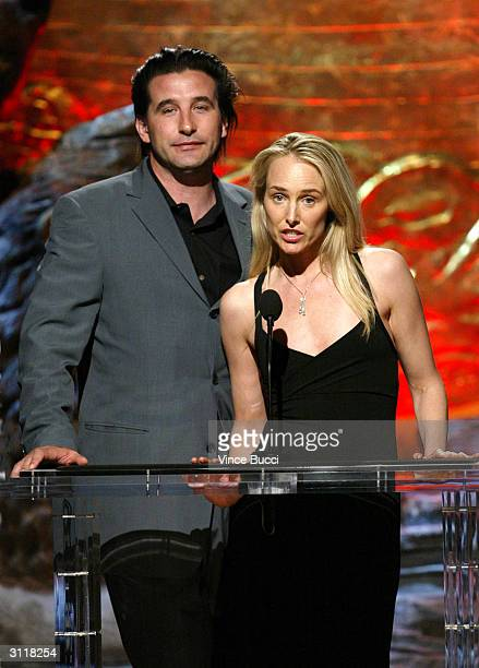 Actor William Baldwin and his wife singer Chynna Phillips present an award at the 18th Annual Genesis Awards presented by the Humane Society of the...
