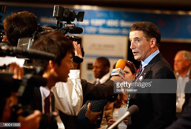 Actor William Baldwin is interviewed in the mixed zone as wrestling is voted to be included in the 2020 Summer Olympic Games during the 125th IOC...
