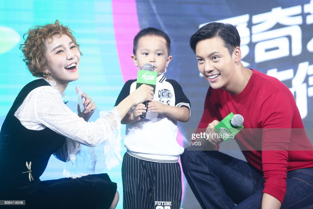 Actor William Chan (R) attends a fans meeting on August 19, 2017 in Beijing, China.