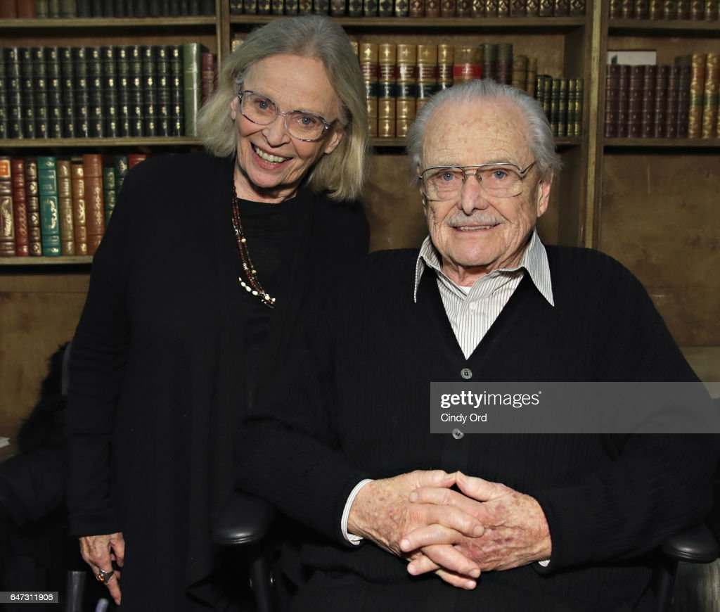 Actor William Daniels poses for a photo with his wife Bonnie Bartlett (L) as he signs copies of 'There I Go Again: How I Came To Be Mr. Feeny, John Adams, Dr. Craig, KITT and Many Others' at Strand Bookstore on March 2, 2017 in New York City.