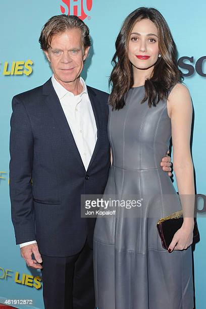 Actor William H Macy and actress Emmy Rossum arrive at Showtime Celebrates AllNew Seasons Of 'Shameless' 'House Of Lies' And 'Episodes' at Cecconi's...
