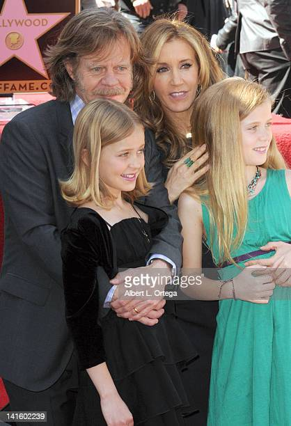 Actor William H Macy and actress Felicity Huffman with daughters Sophia and Georgia at the William H Macy And Felicity Huffman Stars ceremony on the...