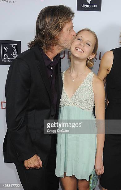 Actor William H Macy and daughter Georgia Grace Macy arrive at the Los Angeles VIP Screening of Rudderless at the Vista Theatre on October 7 2014 in...