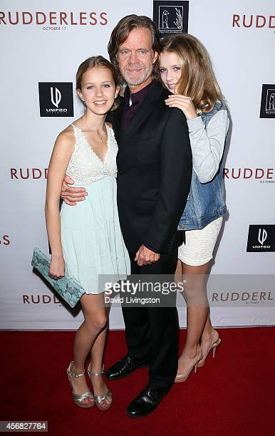 Actor William H Macy and daughters attend a screening of Samuel Goldwyn Films' Rudderless at the Vista Theatre on October 7 2014 in Los Angeles...