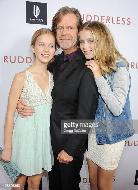 Actor William H Macy and daughter's Georgia Grace Macy and Sophia Grace Macy arrive at the Los Angeles VIP Screening of Rudderless at the Vista...