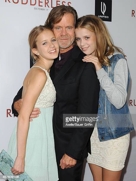 Actor William H Macy and daughters Georgia Grace Macy and Sophia Grace Macy arrive at the Los Angeles VIP Screening of 'Rudderless' at the Vista...