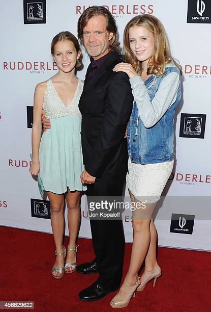 Actor William H Macy and daughters Georgia Macy and Sofia Macy arrive at the Los Angeles VIP Screening Rudderless at the Vista Theatre on October 7...