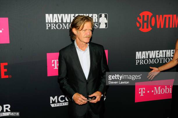 Actor William H Macy attends the VIP party before the boxing match between boxer Floyd Mayweather Jr and Conor McGregor at TMobile Arena on August 26...